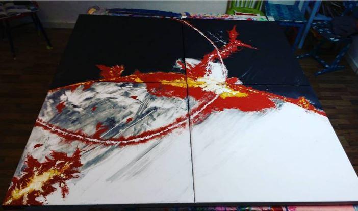 Acrylmalerei mit Spachtelmasse im Atelier von entdeckungsarten